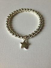 Handmade Chunky Bracelet Silver Plated Stretch With Star