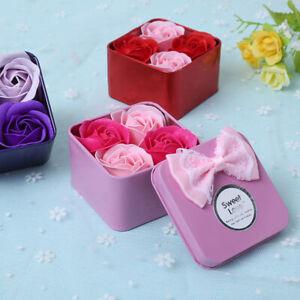 4Pcs Scented Rose Flower Petal Bath Soap for Foot Bath Body Bath Wedding Gifts