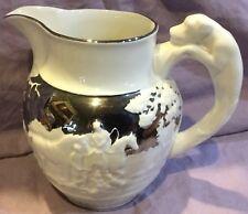 Fox Hunt Hunting Medium Wedgwood Lusterware White Hound Handle Jug #5