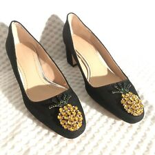 Zara Heels Sz 6 Embellished Beaded Denim Pineapple Detail Block Heel Womens New