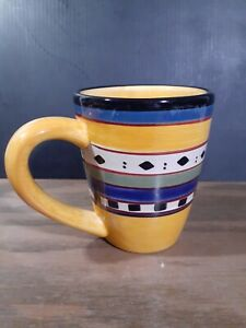 Tabletops Gallery Argentina Golden  16 oz. Coffee Mug Tea Cup Hand Painted