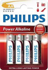 PACK OF 4 PHILIPS EXTRA LONG LASTING POWER AA LR6 ALKALINE MIGNON 1.5V BATTERIES