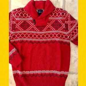 NWT Boys L(10) GAP KIDS Cotton Blend Red FAIR-ISLE shawl collar SWEATER Cardigan