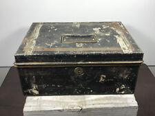 Vintage Metal Storage or Cash Box 10 x 7 x 2 nice wear