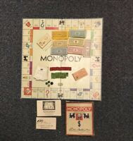 Vintage 1935 1936 1946 Monopoly Parker Brothers Board Game Wooden Pieces Manual