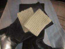 Boot Cuffs Toppers Creamy White  Leg Warmers Hand Crochet Rib Scalloped Acrylic