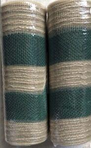 "DECO MESH Poly Wide TAN (natural) & GREEN Cabana Stripe 10"" x 10YD (30ft) Burlap"