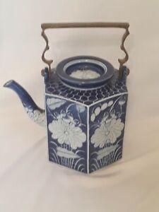 """Heavy Blue & White Porcelain Pottery Kettle Tea Pot Brass Handle 10"""" Lotus"""