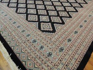 8x10 Bokara Geometric Oriental area rug Black Mauve Gray Brown wool hand-knotted