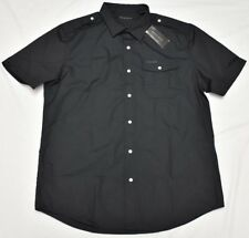Sean John Button Down Shirt Men Size XL Pocket Woven Black Urban Streetwear P053