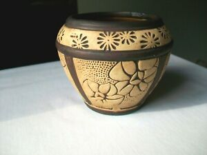 """WELLER POTTERY CLAYWOOD VASE BOWL ARTS AND CRAFT  3 1/2""""  Ca 1910"""