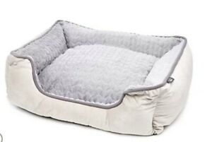 QVC Cozee Paws Rectangular Dog Bed, Light Grey, Medium, New