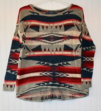 Women's XS - Small pullover sweater southwestern gray navy red POLO Ralph Lauren