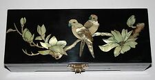 Oriental Chinese Jewellery Box with Mother of Pearl Birds/Magnolia Decoration