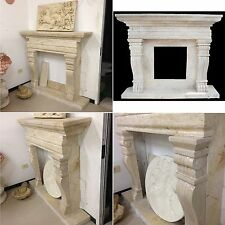 CHEMINÉE PAVÉS DE TRAVERTIN CM140 PIERRE MARBRE 062 fireplace stone