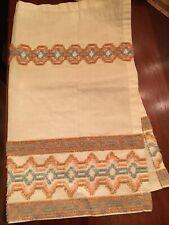 3 Vintage Chenille Curtains Off White Orange Blue 24x28 Cotton