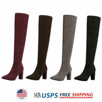 Women's Over The Knee Boots Thigh High Fashion Boots Block Heel Boots