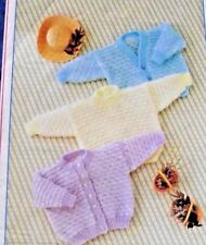 """TEXTURED BABY JUMPER/SWEATER & CARDIGANS  DK KNITTING PATTERN  SIZES 16""""-22"""""""