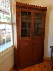 Antique Eastlake Corner Cupboard Cabinet Hutch China Closet Walnut