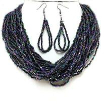 Purple AB Layered Necklace Earrings Seed Bead Jewelry Set Handmade Bali
