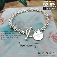 925 Silver Woman's T-bar Disc Tag Bracelet ✔️Free Engraving✔️Quality✔️Solid