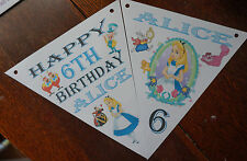 PERSONALISED ALICE IN WONDERLAND BUNTING /BANNER / BIRTHDAY DECORATION/HEN PARTY