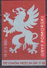 POLAND 1963 Matchbox Label - Cat.Z#558b. V - Gryf Pomorski.