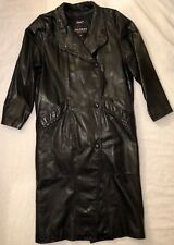 Wilsons Black Leather Trench Coat Womens SZ: Med.-Lg.