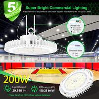 200W UFO LED High Bay Light Super Bright Warehouse Shop Garage Lamp 5000K UL DLC