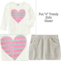 NWT Crazy 8 Girls Size 4T or 5T Heart Tee Shirt Top & Sweater Skirt 2-PC OUTFIT