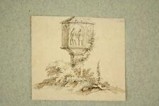 Deutsch um 1800 Miniatur Tinte laviert Denkmal am Wegesrand Antik Zeichnung