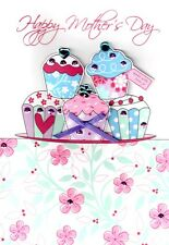 Cupcakes Hand-Finished 3D Happy Mother's Day Card Pretty Greeting Cards
