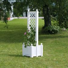 Pflanzkasten mit Spalier zentral Blumenkasten weiß