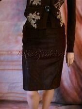 $2225 New ROBERTO CAVALLI Burgundy Purple Suede Leather Snake Skin Skirt 10 44
