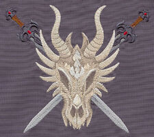 DRAGON SKULL SET OF 2 BATH HAND TOWELS EMBROIDERED BY LAURA