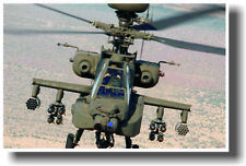 Apache Army Attack Helicopter Head-On - Military POSTER