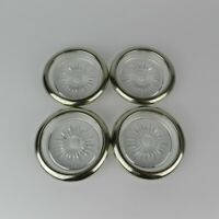 Set of 4 Vtg MCM Atomic Starburst Sunburst Glass & Silver Plate Coasters Italy