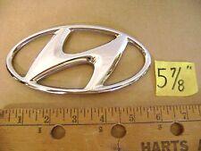 "HYUNDAI oval chrome plastic emblem 5 7/8"" used no studs Tucson Genesis Santa Fe"