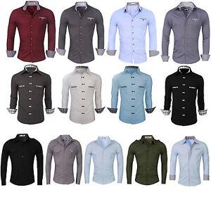Mens Stylish Slim Fit Shirts Long Sleeve Luxury Formal Casual Dress Shirts Tops