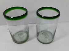 Set of 2 Mexican Hand Blown Glasses with Green Rim Heavy Quality