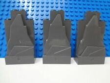 3x LEGO BRICK DARK GREY/GRAY MOUNTAIN/WALL/ROCK PANEL 2X4X6