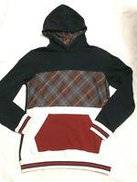 Sudadera con capucha negra-roja y escoses  - Talla L