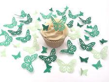 48 Edible TONOS DE VERDE MARIPOSAS precortado Oblea adornos de cupcake