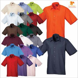 "Premier Mens Short Sleeve Poplin Shirt Work Office Formal Shirt TOP 14.5"" to 23"""