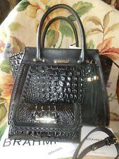 Brahmin Priscilla Satchel Black Wilde Bag N79 1289 Croc Emb Eye