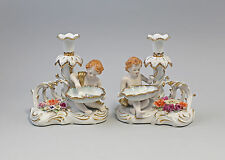 Pair Porcelain Chandelier Candle holders Putto with Bowl magnificently a3-87237