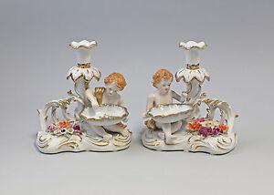9987237 Paar Porzellan Leuchter Kerzenständer Putto Schale prachtvoll 18x21cm