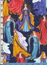 Fabric Timeless MEDIEVAL PRINCESS QUEEN fleur de lis METALLIC GOLD ON BLUE BTHY