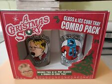 """""""A Christmas Story"""" Two 16 oz Glasses & Lamp Leg Ice Cube Tray Combo Pack - New"""