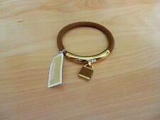 Michael Kors Authentic Brown Leather padlock Hinge Bangle Bracelet MSRP $115